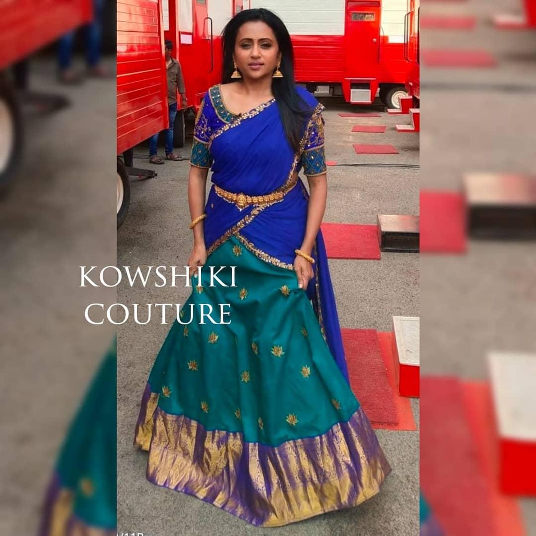 Beautiful Anchor Kanakala Suma in beautiful Kanchi silk Lehenga. Styling by Priyankasaha jananda. 2021-04-14