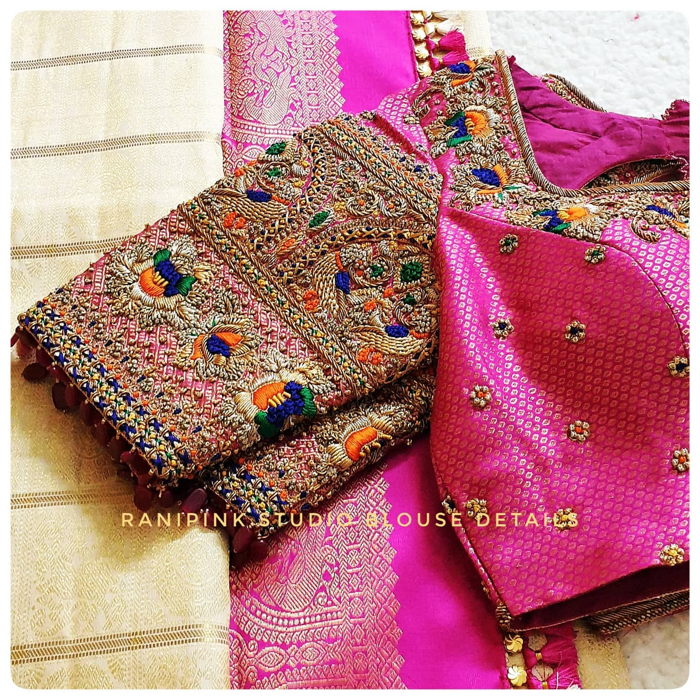 Details of Muhurutham Blouse. Stunning pink brocade wedding blouse with  floral and peacock bead and thread maggam work. 2021-04-15