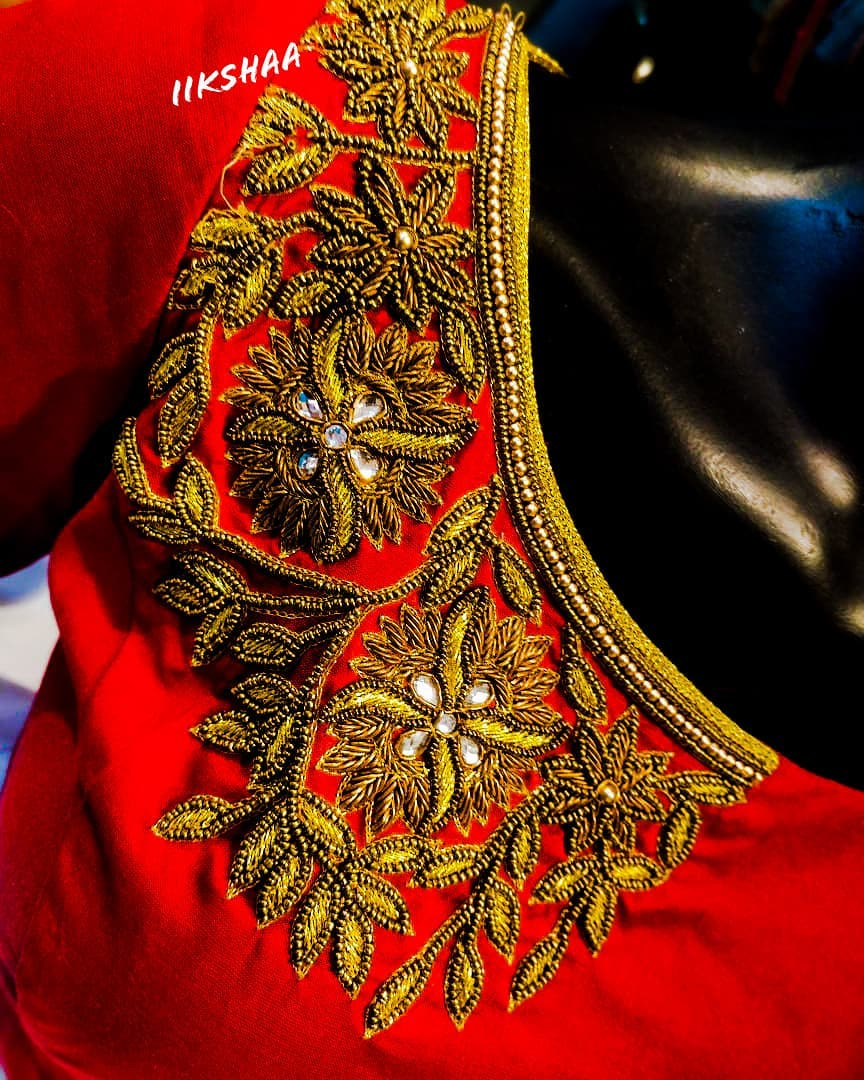 Stunning red color designer blouse with floral design hand embroidery bead aari work.  2021-04-15