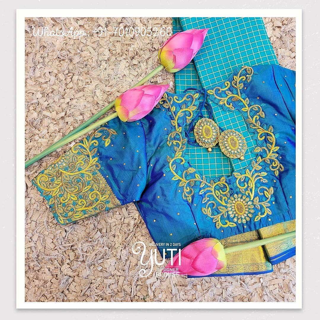Gorgeous sky blue color designer blouse with creeper design hand embroidery gold thread maggam work. Blouse with cut work on back.  2021-04-15
