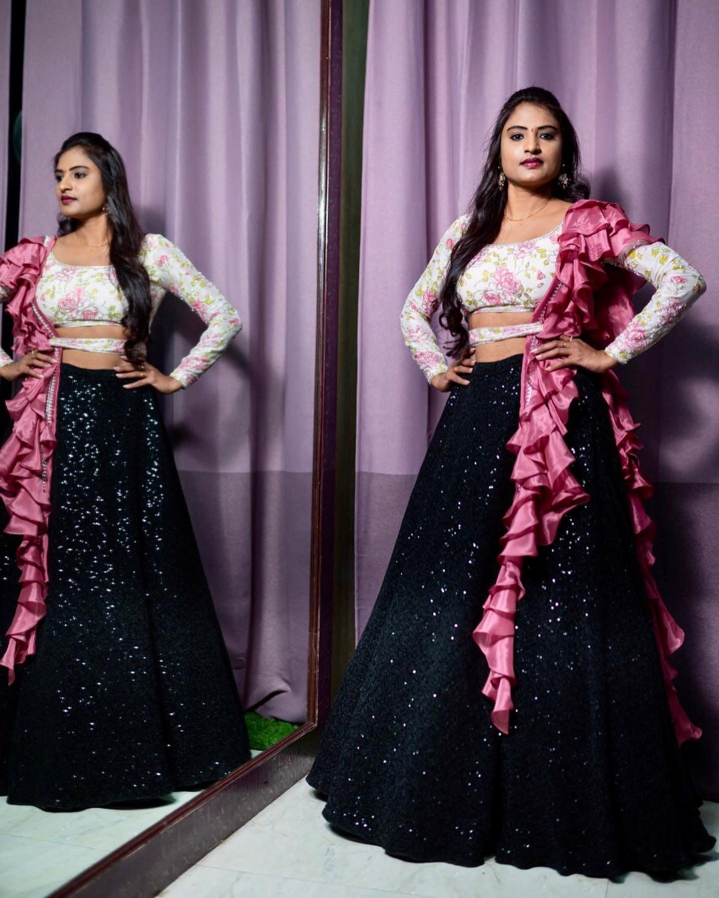Black sequence lehenga with white Floral hand embroidered blouse paired up with belt and ruffles dupatta can be wore for any occasion from the house of Vinisha rao designer studio !! Suitable for all kind of occasions !!  .. . You can call  to order on
