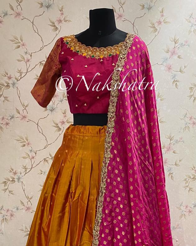 Gadwal pure silk lehanga voni set paired with  silk dupatta and handwork blouse .  2021-04-16