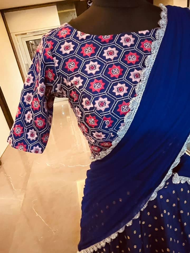 Beautiful blue color raw silk lehenga and blouse with net dupatta. Blouse with embroidery work. Ready to ship Price : 13500 INR. Fabric: Rawsilk . To order WhatsApp 7013728388 . 2021-04-17