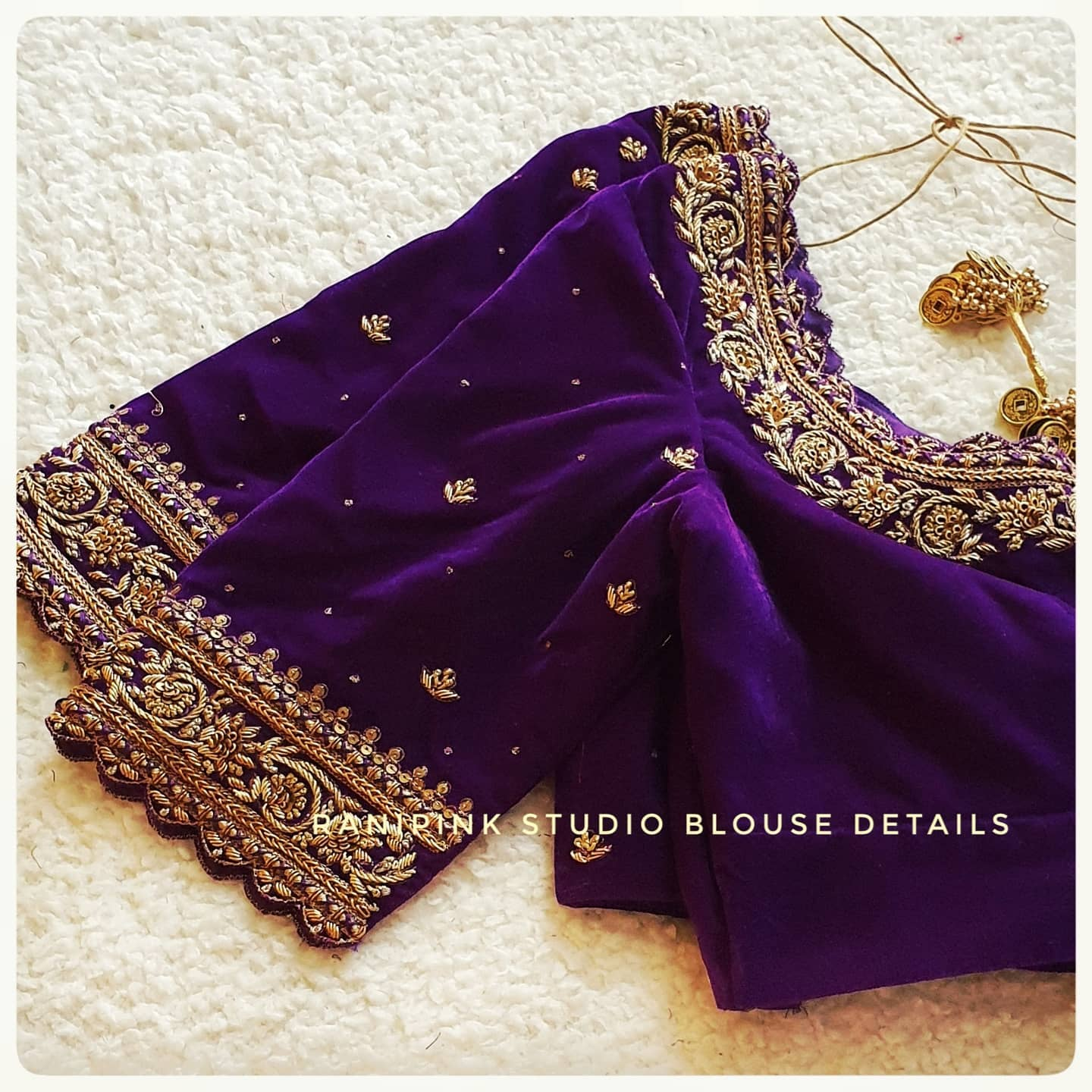 Simple yet classy.... Stunning purple velvet cloth wedding blouse with floral and creeper design hand embroidery gold thread maggam work. 