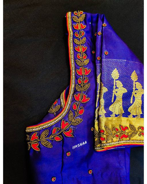 Stunning royal blue color silk blouse with small buti and leaf design hand embroidery bead aari work.  2021-04-17