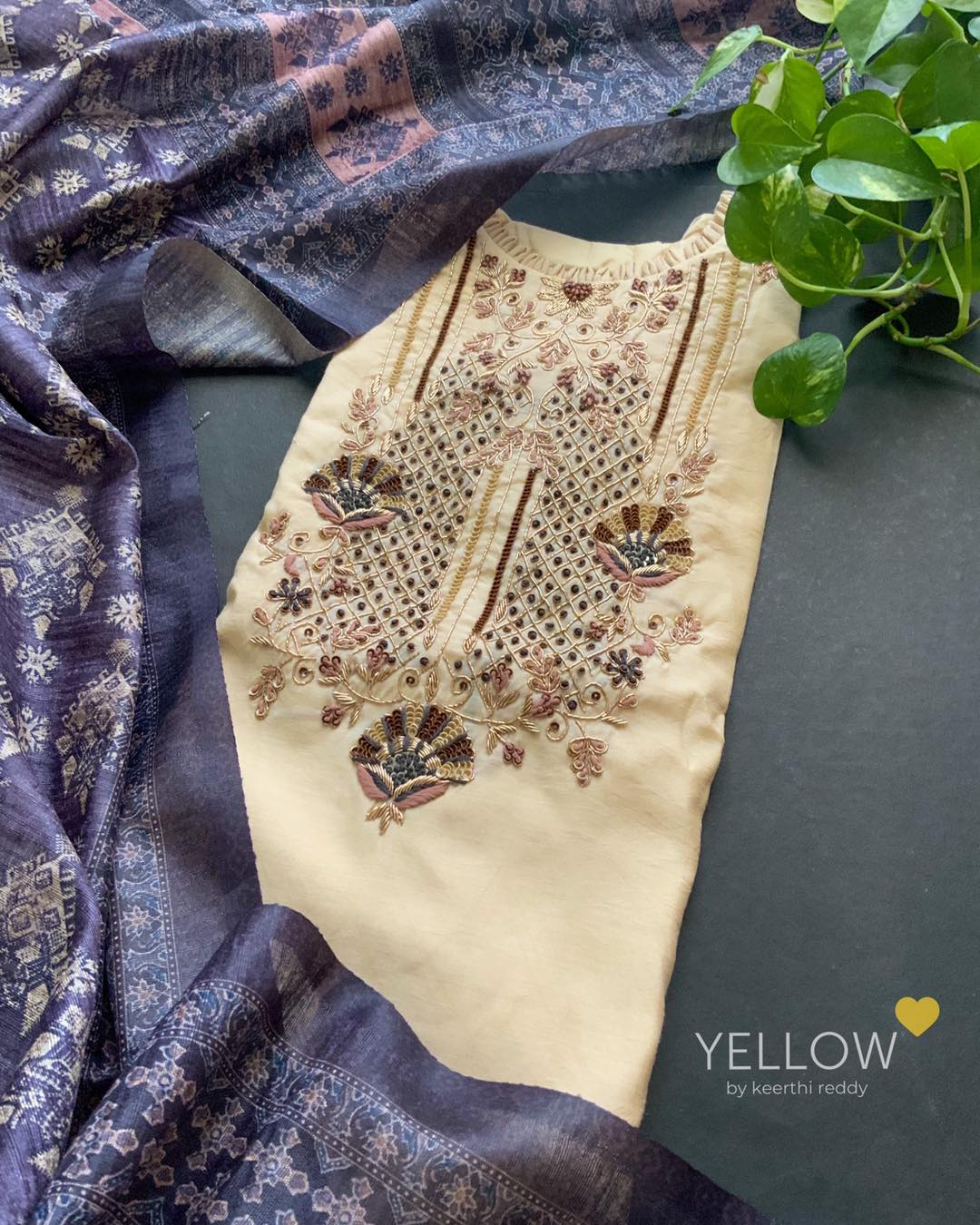Pure muslin silk kurti with heavy embroidered yoke paired up with printed bhagalpuri tussar dupatta 