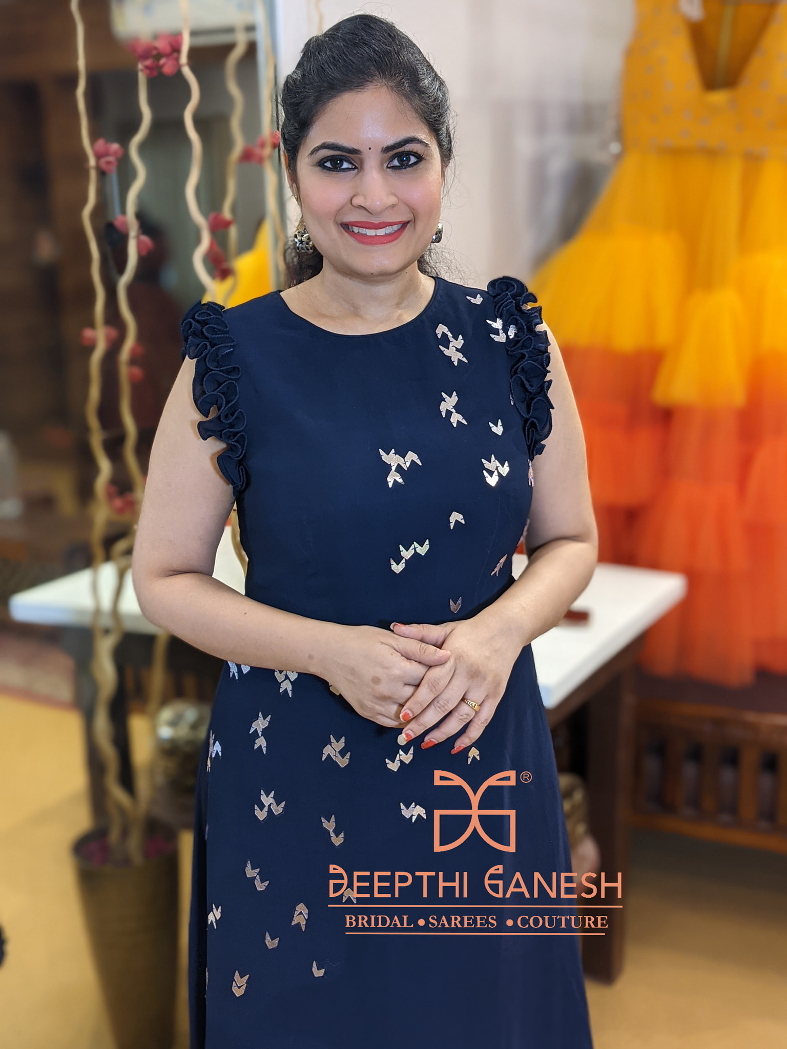Beautiful designer Deepthi Ganesh  looks extremely graceful in  Crape gown collection enhanced with ruffles on sleeves and hemline!   For enquirers/details  please Whatsapp on +91-8142420088/ +91-9966196899. 2021-04-18