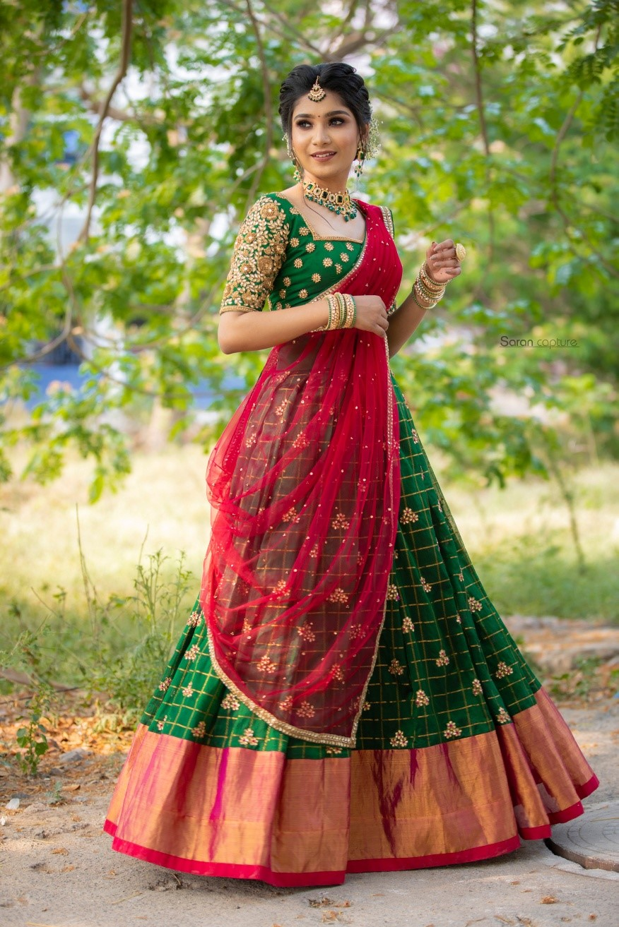 Traditional Half Saree Set. . . Traditional Half Saree Set for your special occasions! Place your orders now for the coming wedding season!  . . For orders and queries  please whatsapp  on  9952093562 or Reach on 044 4262 4085. 2021-04-18