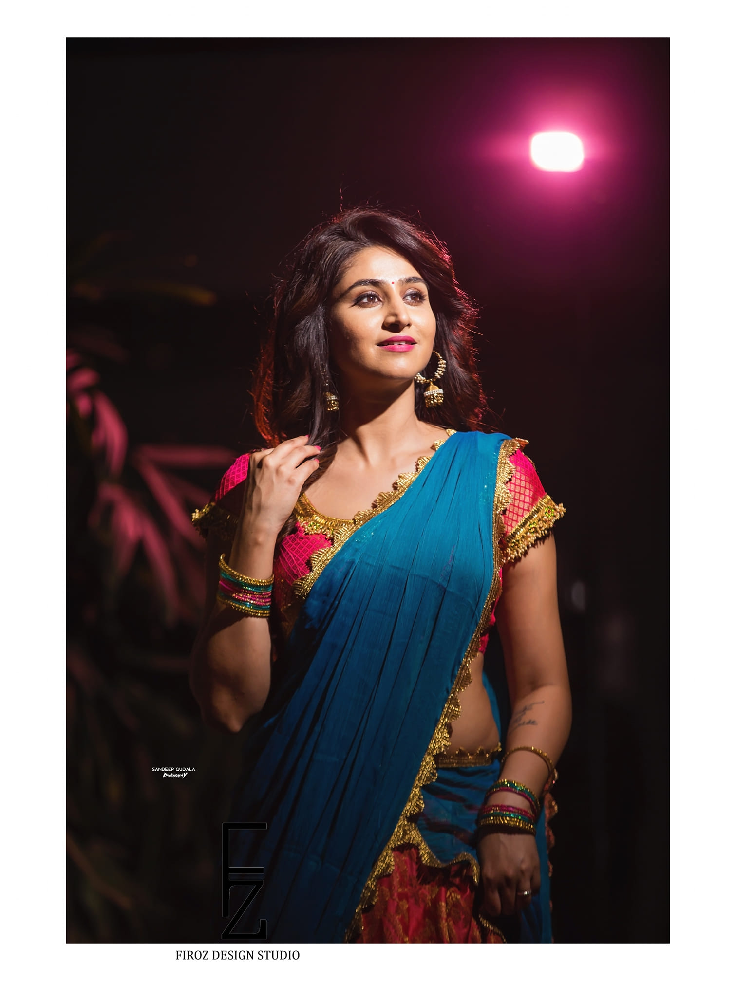 Glamorous Varshini looked beautiful in   Firoz Design Studio half saree. 2021-04-19