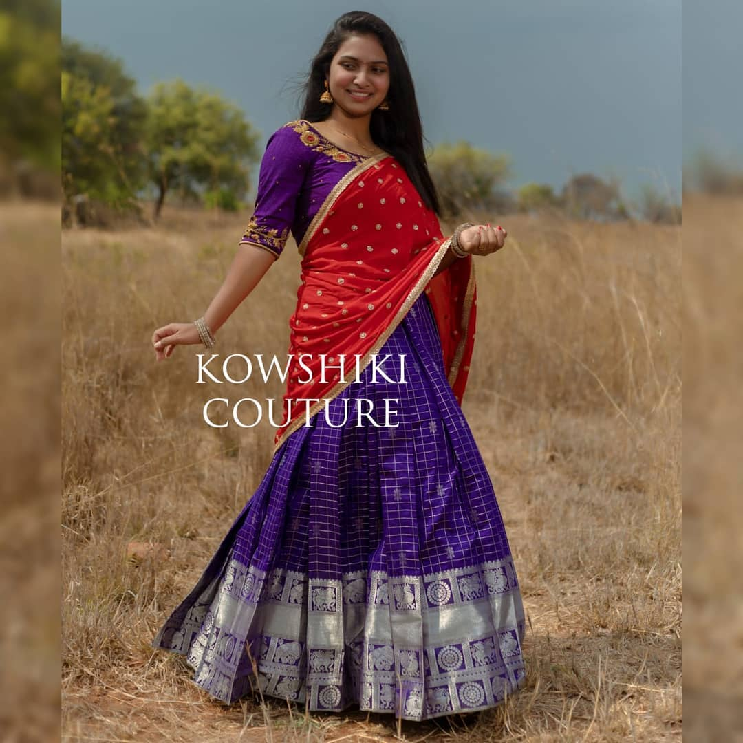 Stunning purple color silver pattu lehenga and blouse with red upatta. Blouse with floral maggam work. 2021-04-19