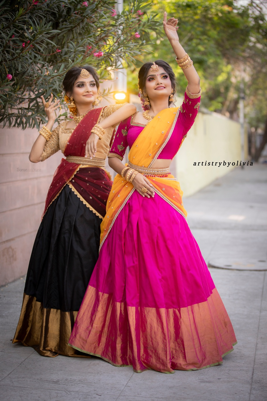 Traditional Half Saree Set . . Glam your weddings and other occasions with these beautiful traditional half sarees . Stunning pink and mustard combination and Black gold & maroon . . . For orders & queries please whatsapp  on  9952093562 or Reach  on 044 4262 4085 2021-04-20