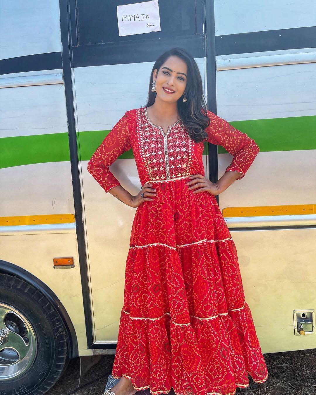 Beautiful actress Himaja in floor length bandhini dress with mirror work. 2021-04-20