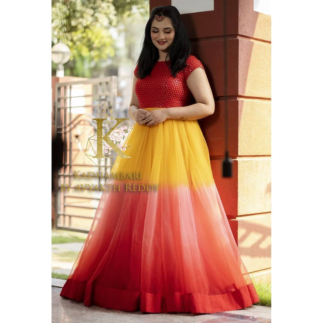 Beautiful Manasa charan in a playful ombre flaired long gown. Price 8500/- 2021-04-20