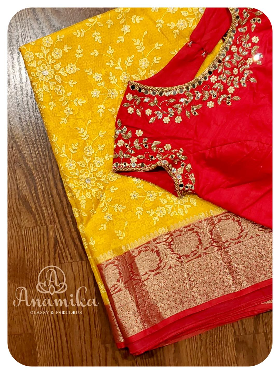 Chikankari work on Kota silk saree – with kanchi border in bright and elegant colors of yellow and red.  DM 360-545-3636 for inquiries 2021-04-21