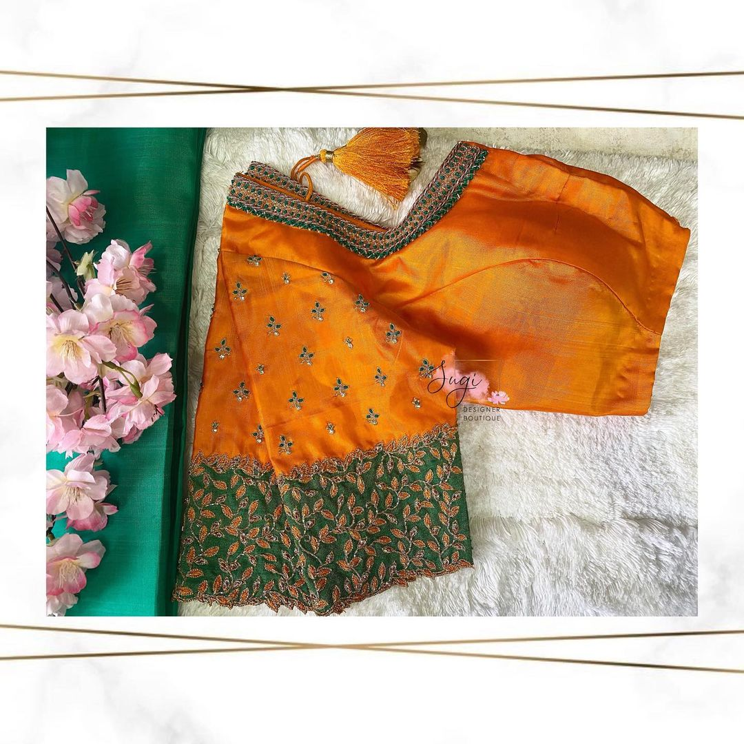 Stunning mango yellow and green color combination designer blouse with leaf creeper design hand embroidery aari work.  2021-04-22