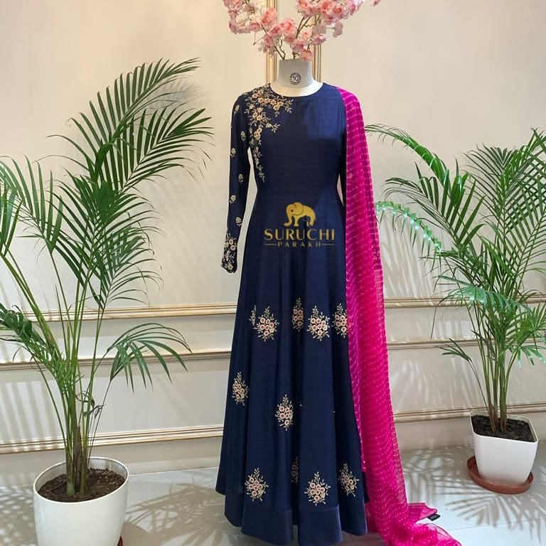 Handcrafted Royal blue Anarkali and a Pink Leheriya - a color contrasting set worth having in your wedding wardrobe. 2021-04-22