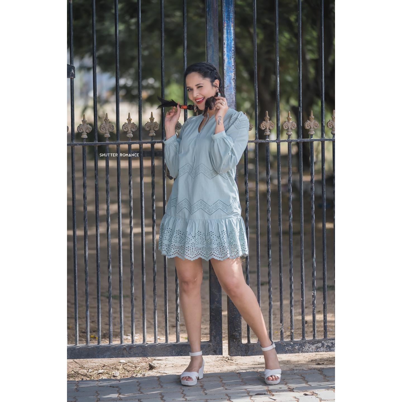 Stunning anchor Anasuya Bardwaj in ice blue color knee length dress for Jabardasth. 2021-04-23
