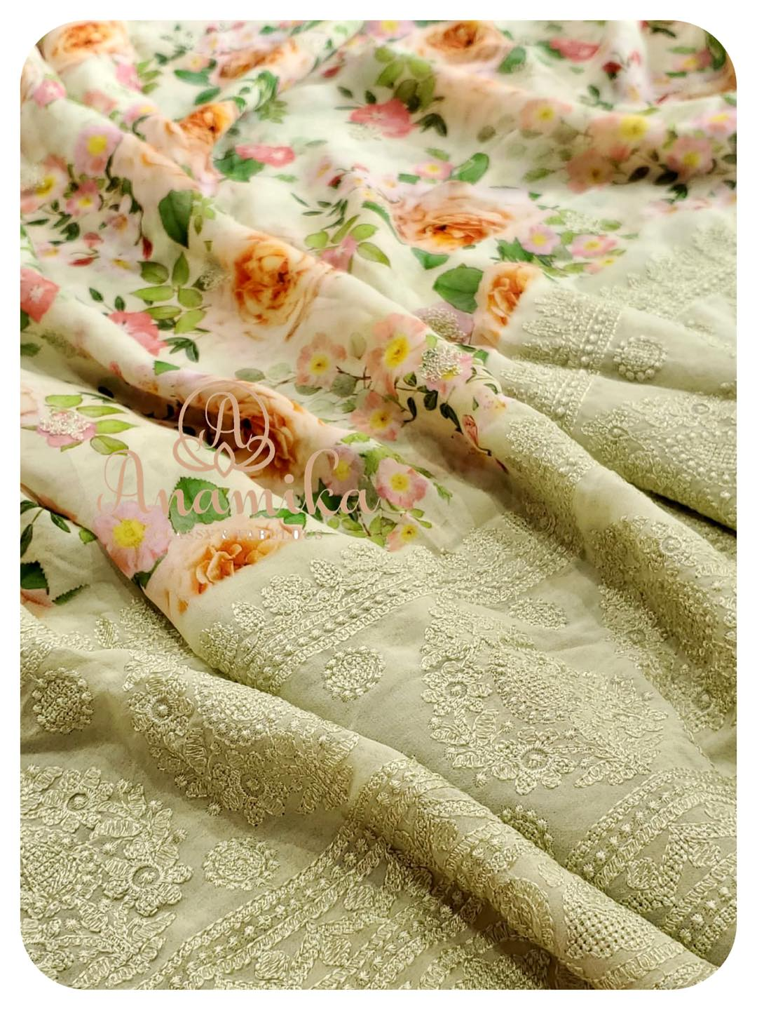 The blossoming flowers and the pastel hues are an indication that the Spring has arrived. Flaunt away in style in this beautiful floral georgette saree with chikankari border - paired with a stunnngly beautiful pearl work blouse.  A perfect ensemble for you upcoming Spring photoshoot !!  DM 360-545-3636 for inquiries. 2021-04-23