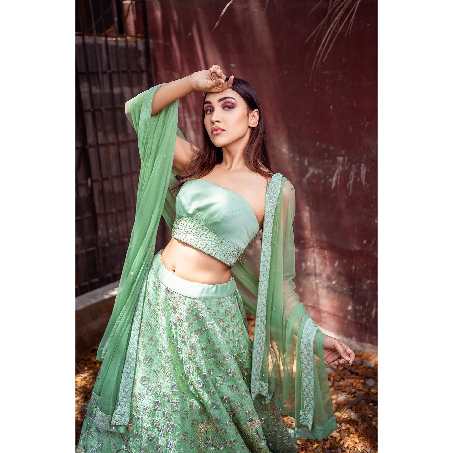 ~ BRIDAL COUTURE ~ A bespoke couture from Architha Narayanam is a reflection of an artistic vision. An exquisite couture whimsically with ditsy florals geometric spirals in a bright sage green hue finished in surreal thread and zardosi work. 2021-04-23