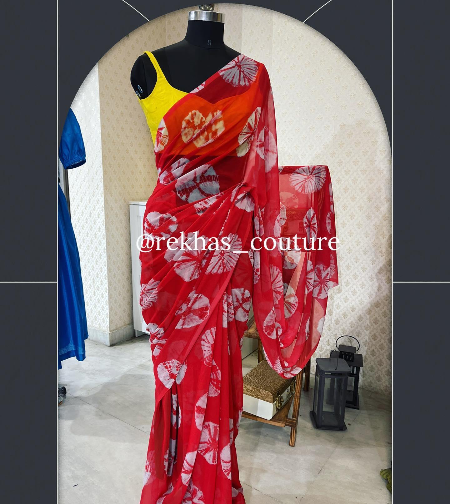 Beautiful digital print saree and yellow sleeveless blouse.  2021-04-23