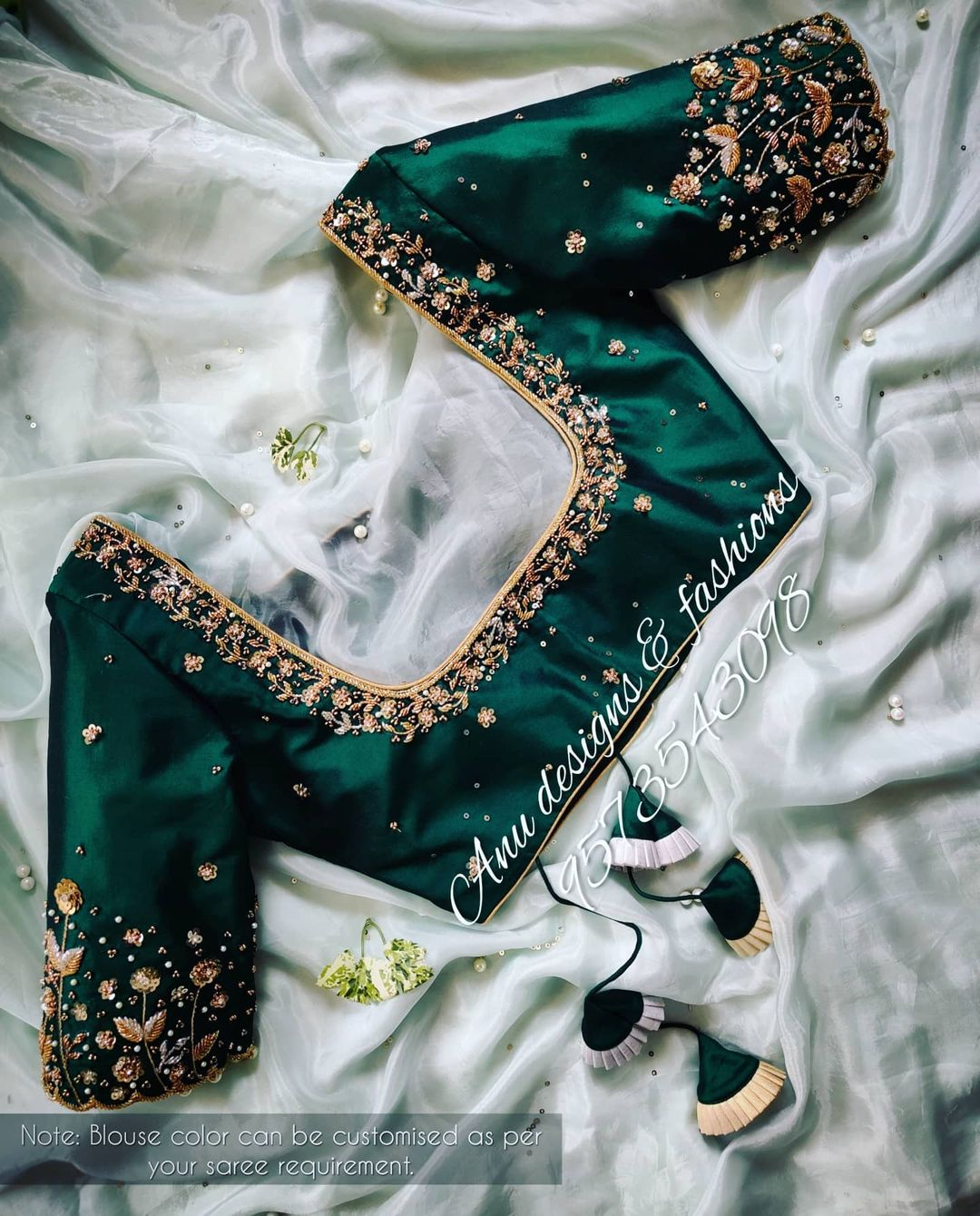 Stunning bottle green color designer blouse with floral and climber design hand embroidery 3D maggam work.  2021-04-23