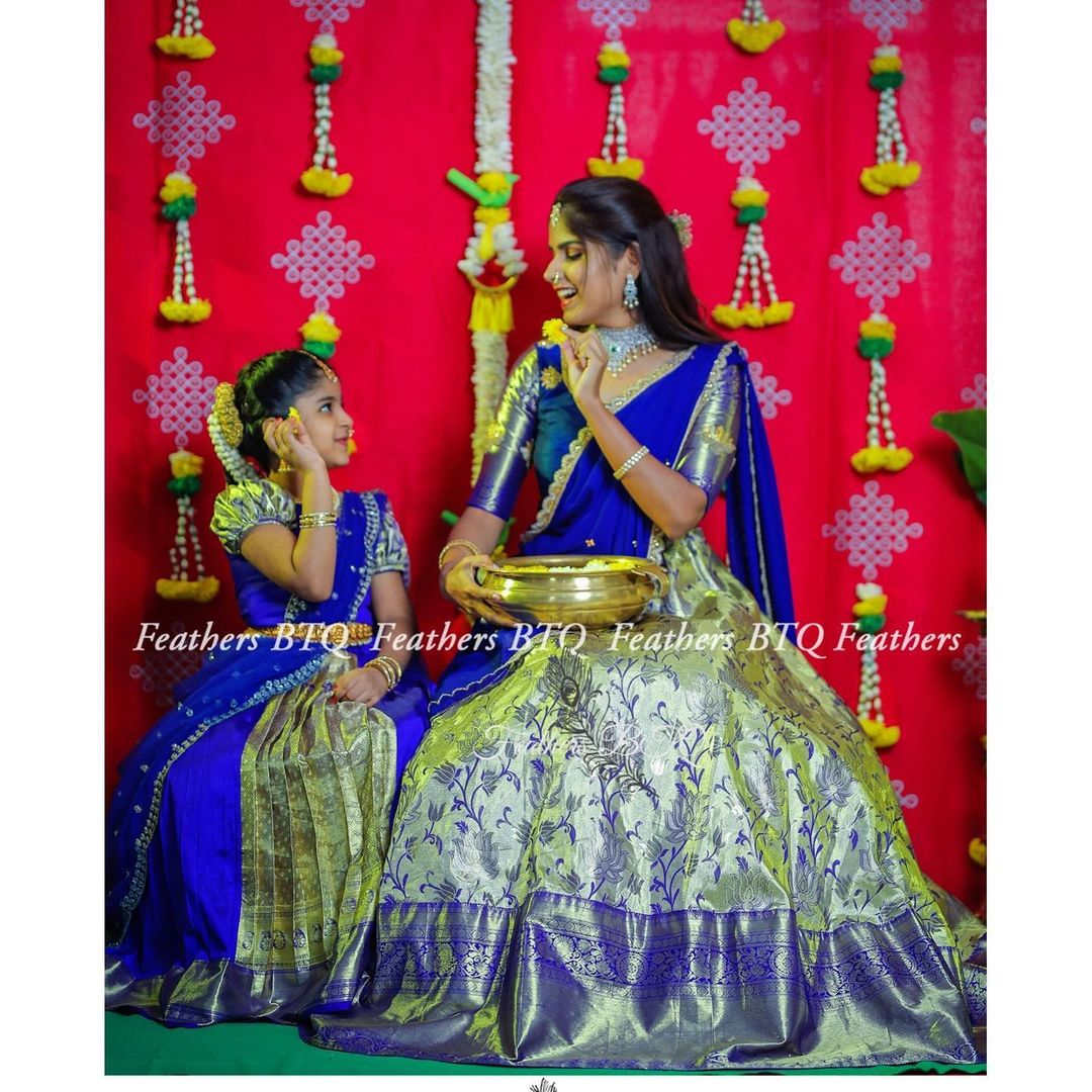 Stunning mom and daughter kanchi pattu lehenga and blouse with net dupatta. 2021-04-23