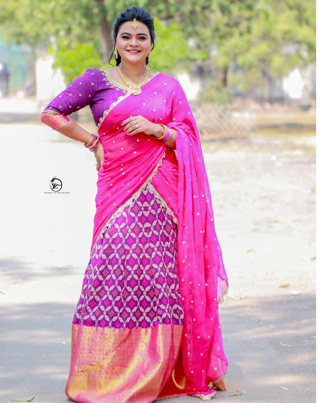 Beautiful actress Rihini in purple pattu lehenga and blouse with pink dupatta. 2021-04-24