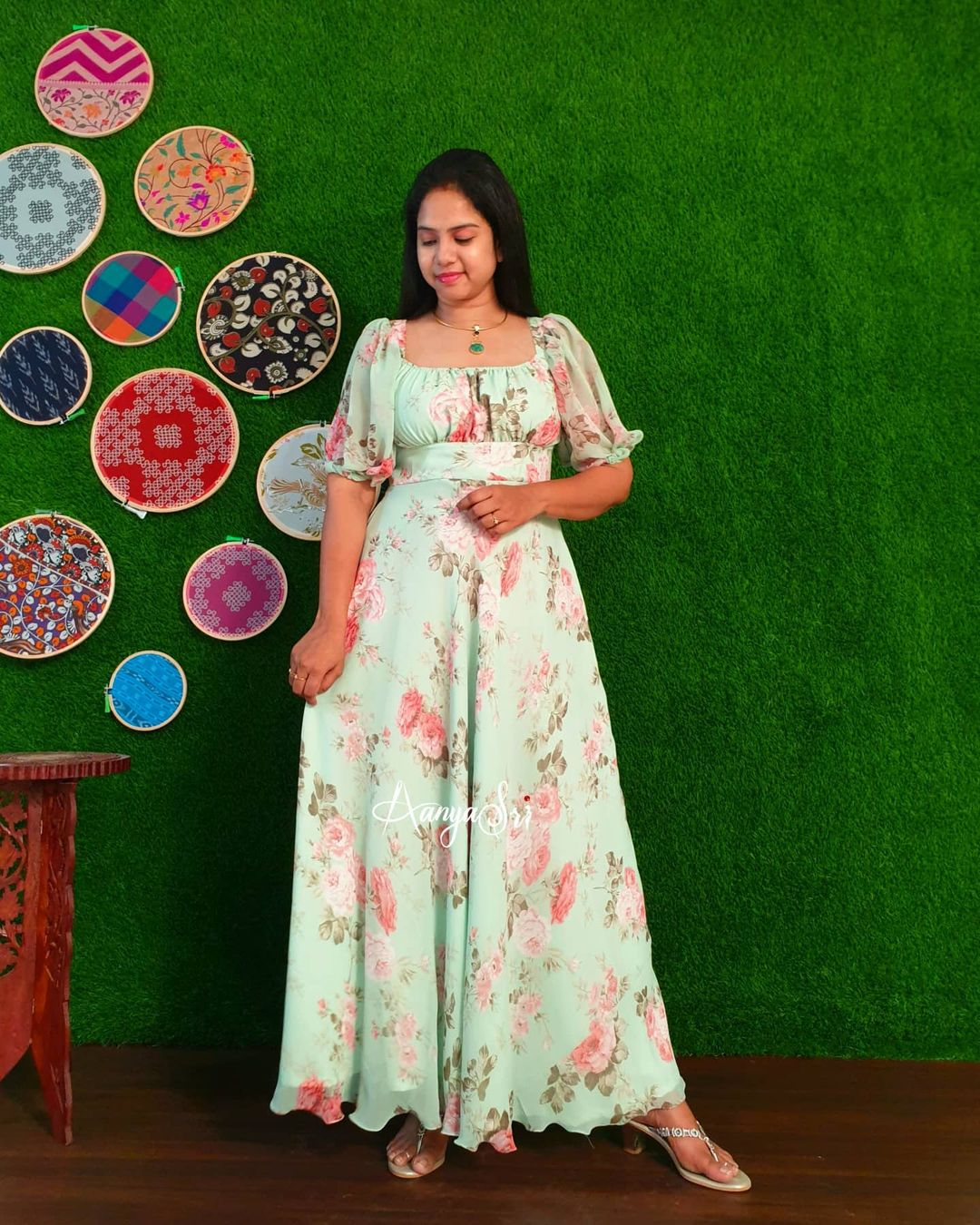 Pista green maxi with elastic neckline  balloon sleeves and a handcrafted matching hairbow for that retro look.  Price : RS. 2700/-   2021-04-24