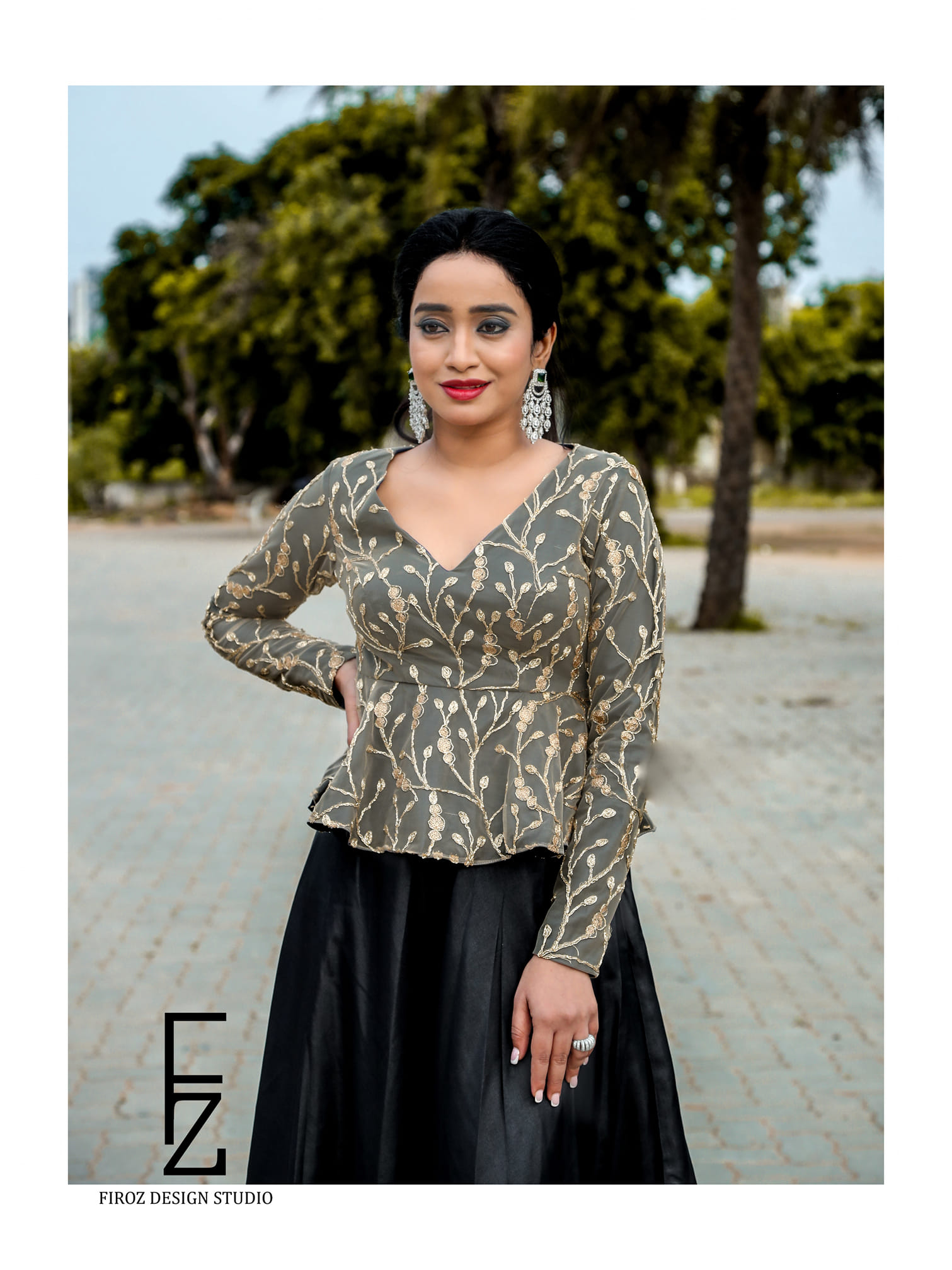 Beautiful and Charming Vindhya Vishaka in Firoz Design Studio Outfit. 2021-04-25