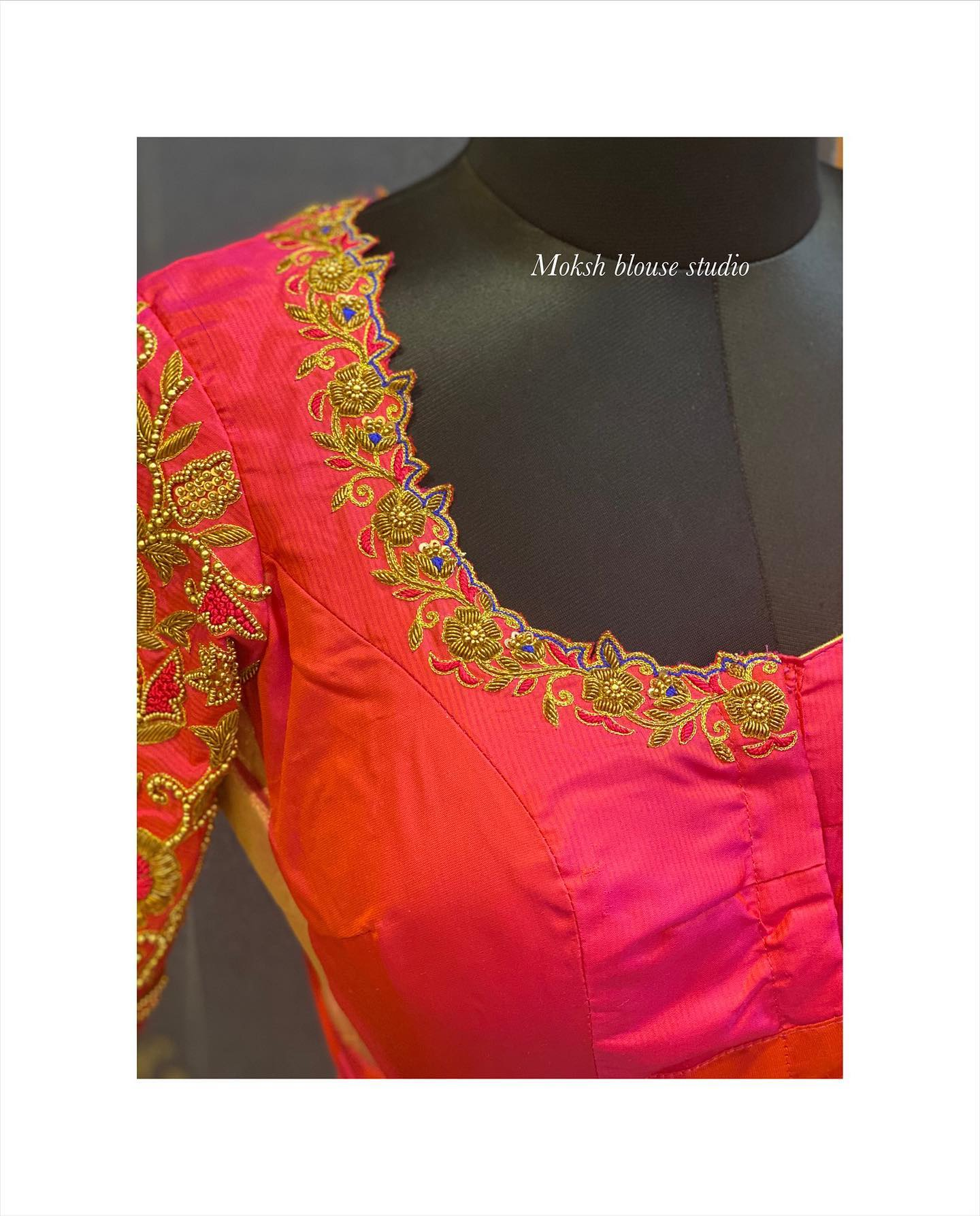Stunning designer blouse with cut work on neckline. Blouse with floral and creeper design hand embroidery gold thread maggam work.  2021-04-25