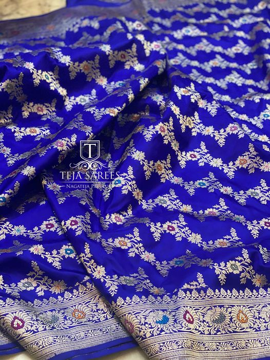 TS-SR-531. Available. Hand picked Banarasi Jangla soft drape Silk Saree with intricate weaves from Team Teja !! For orders/queries Call/ what's app on 8341382382 Mail  tejasarees@yahoo.com. 2021-04-25