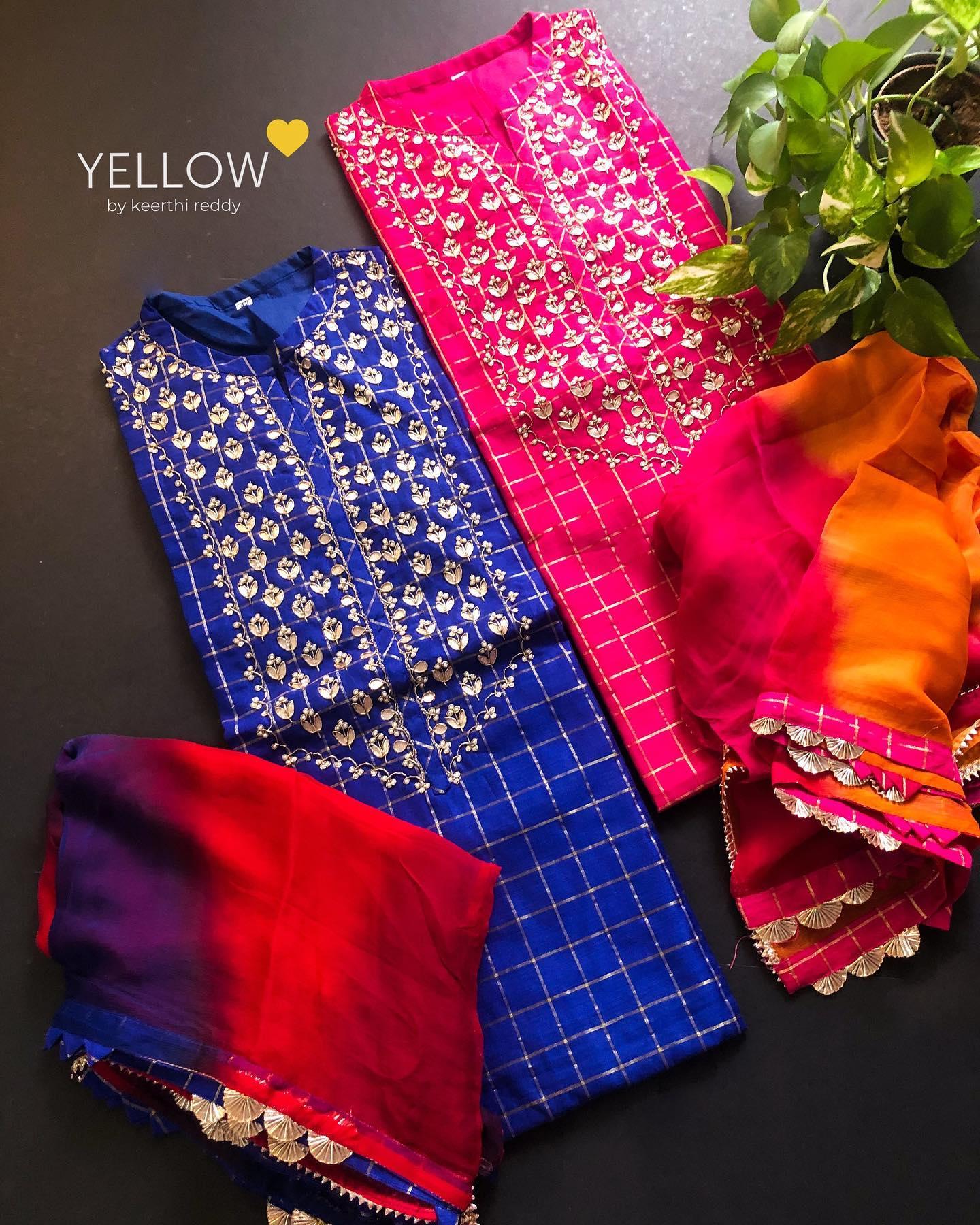 BRIGHT SIDE #2  Chanderi checks kurti with heavy gota work yoke paired up with dual shaded chiffon dupatta and gota trims.  Size - L  XL XXL Kindly WhatsApp  @ 7995038888 for enquiries. 2021-04-25