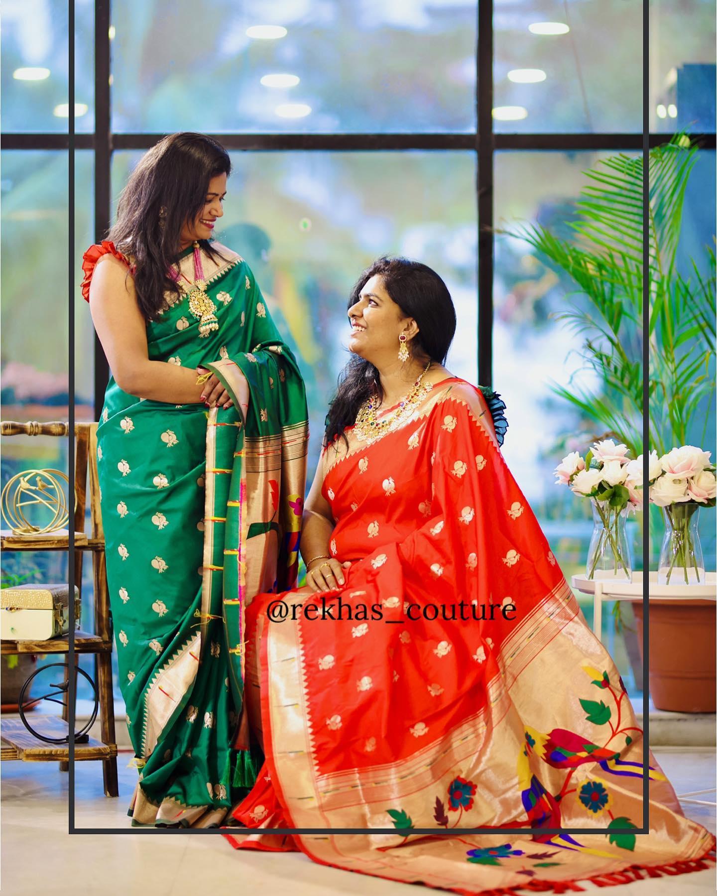 Beautiful red and green fusion pattu saree. Swan buti with  kanchi pattu and pallu with paithani pattu. 2021-04-25