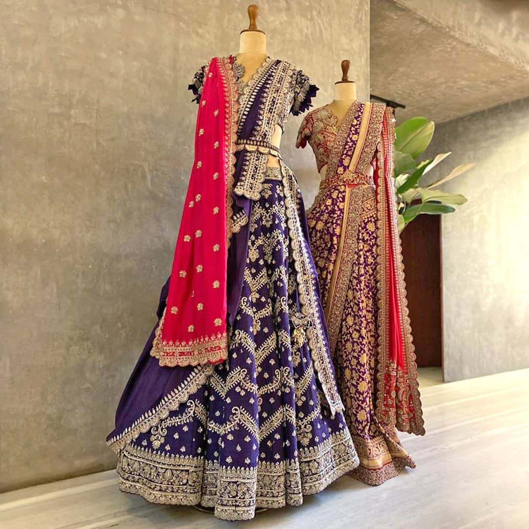Handwoven textiles embellished with intricate hand embroidery lehenga set and saree. 2021-04-25