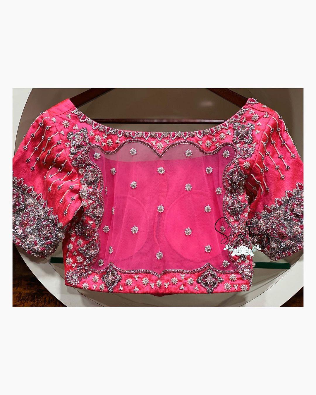Stunning sheer back designer blouse with floral buti design silver thread aari work. 2021-04-25