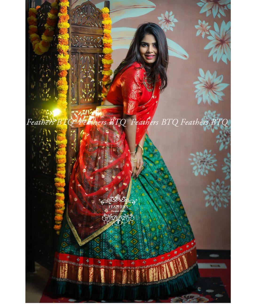Traditional pattu lanag voni. Beautiful green and red color combination pattu hanf saree.  2021-04-25