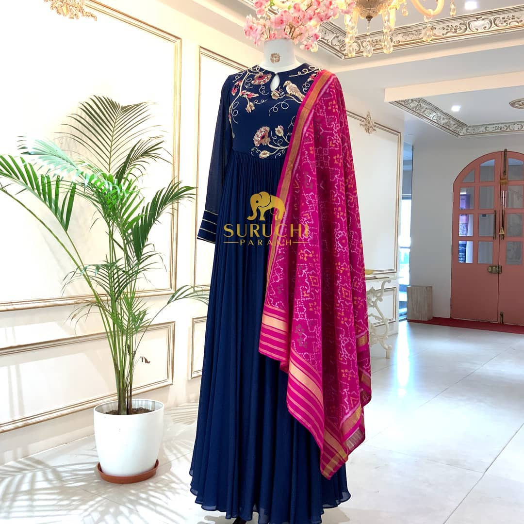 Nature inspired Anarkali paired with a Patola Dupatta is what perfection is for us! 2021-04-26