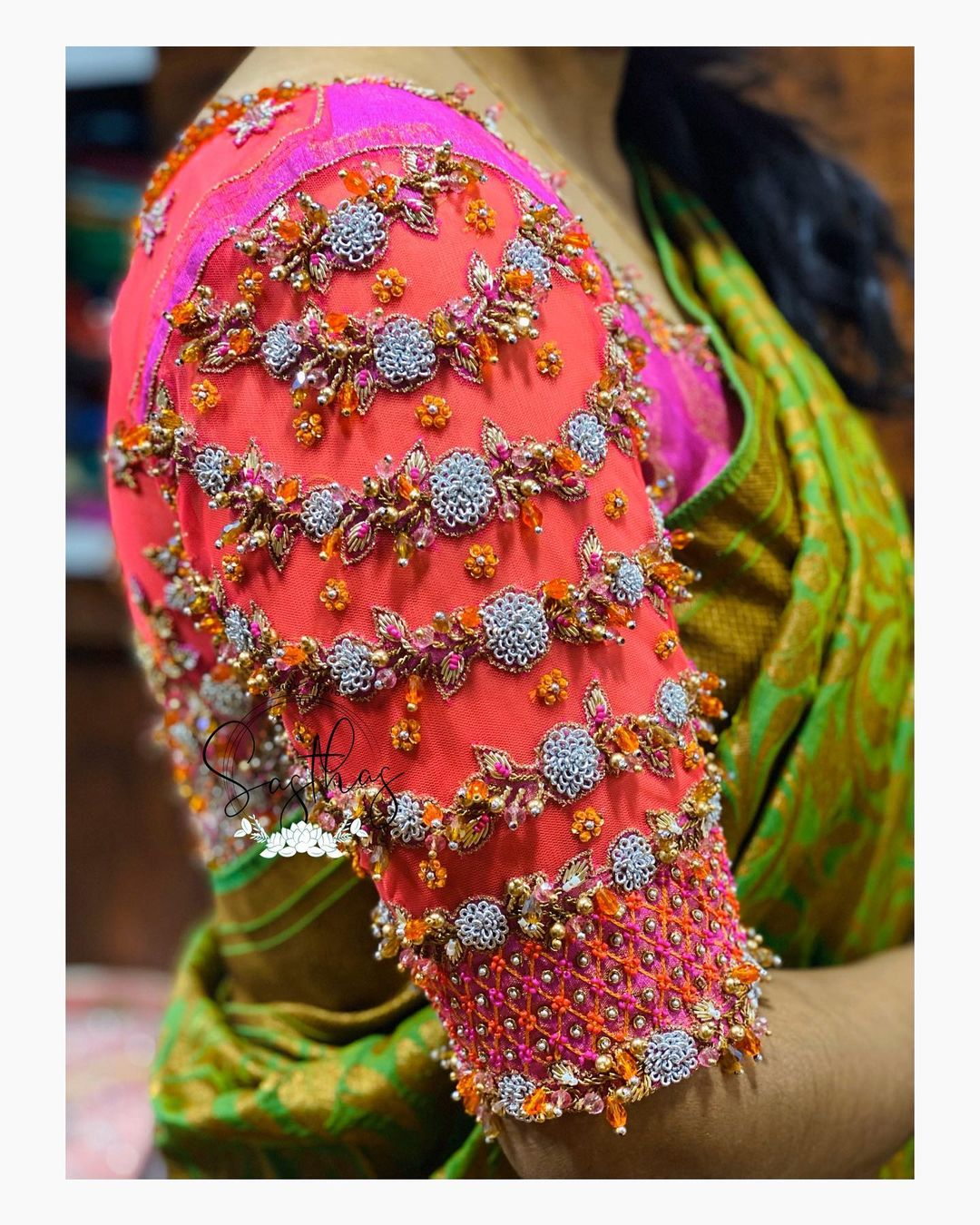 Stunning bridal blouse sleeve with floral creeper design hand embroidery 3D aari work.  2021-04-26
