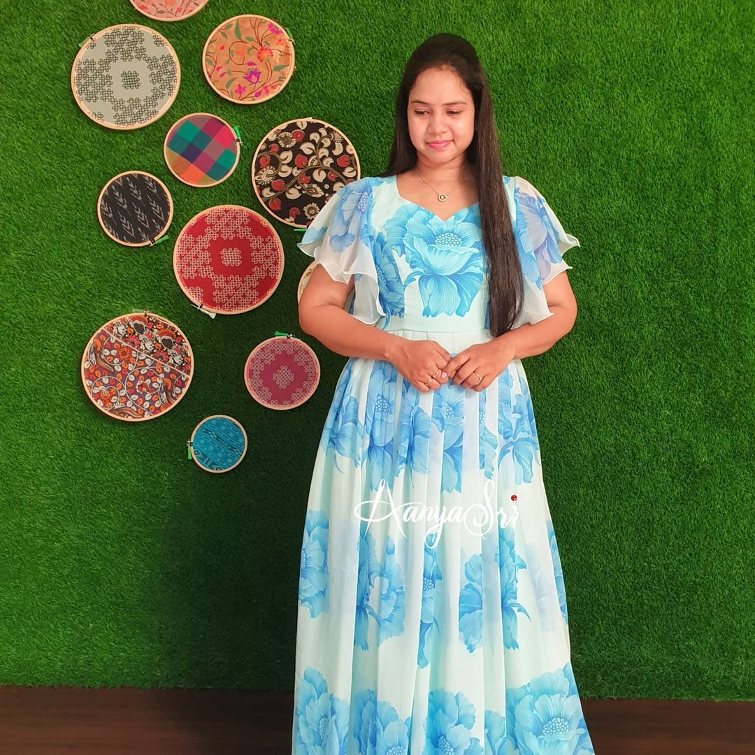 Blue floral maxi with ruffle sleeves. Perfect for summers ! Blue & Bold Price : RS. 2700. 2021-04-27