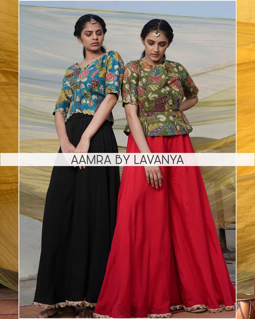 Hand embroidered and hand painted pen kalamkari peplum tops paired with flared palazzo pants. For orders and queries call/whatsapp on +91-9177363970 2021-04-27