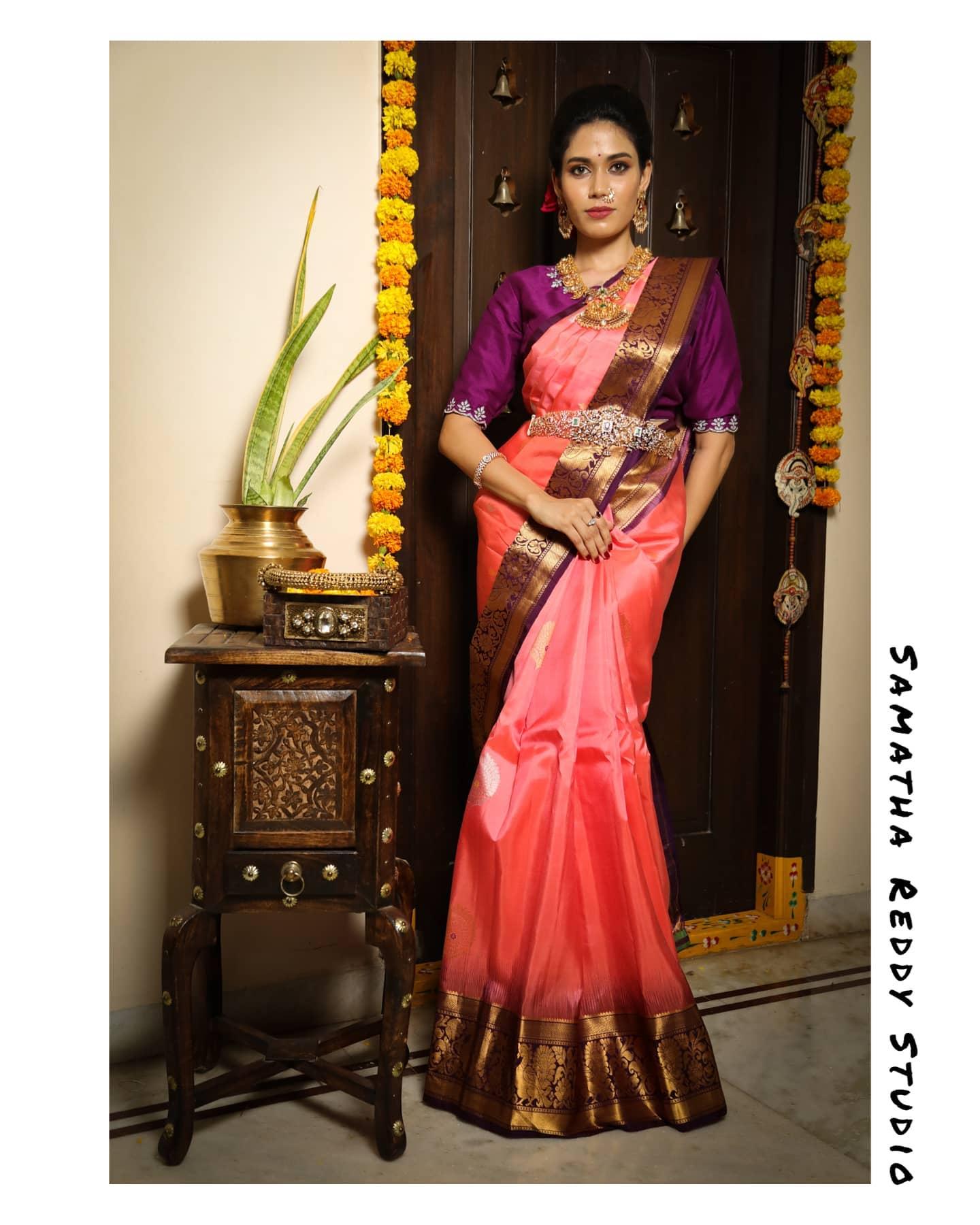 Pure Gadwal Pattu Saree from Samatha Reddy Studio. 2021-04-28