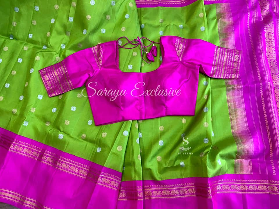 Type: Gadwal Silk  . Description:  Beautiful Authentic Bright Parrat Green And Pink Gadwal Silk Saree complemented with contrast saree blouse Patterned blouse Exclusively available @Sarayu . Blouse: Yes Fall and Pico: Yes Inner Skirt: No Price: 265$ Blouse size: 38/40. In Very New combination In love with this combo  . 2021-04-28