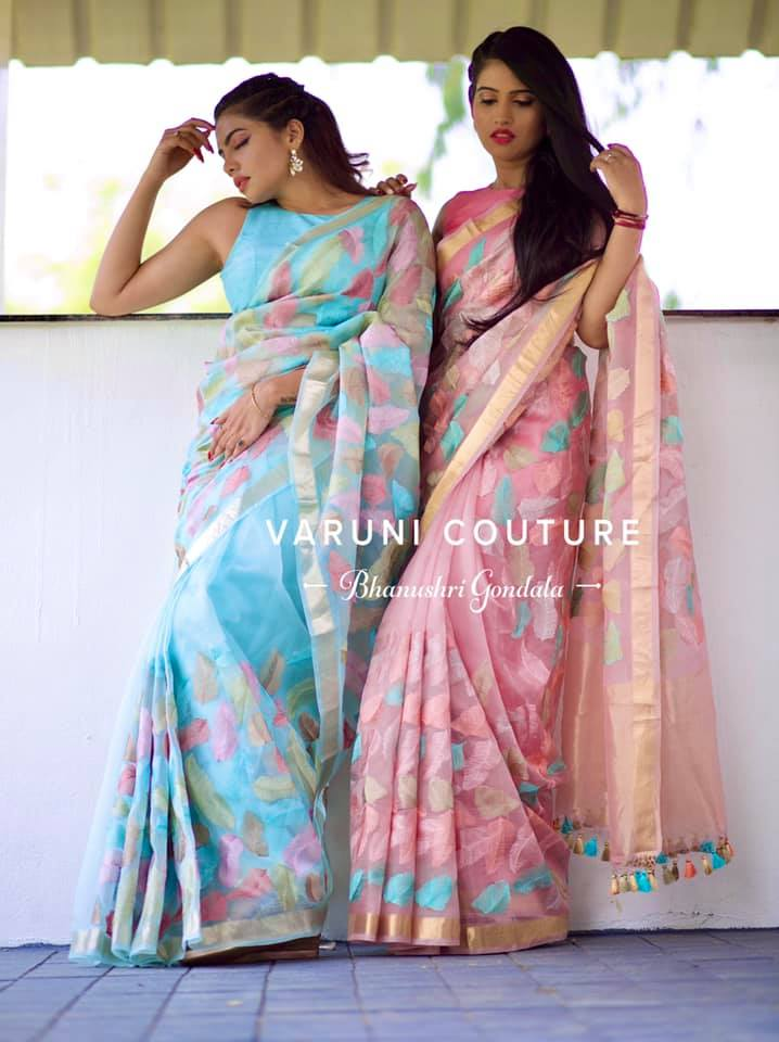 Feather concept sarees .
