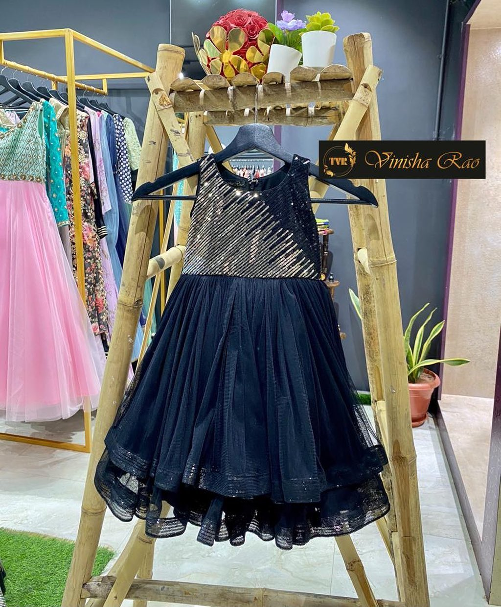 Black kids tulle long frock teamed with sequence yoke having double layered flare at the bottom of the frock from the house of Vinisha rao designer studio !! Suitable for all kind of occasions !! 2021-04-29