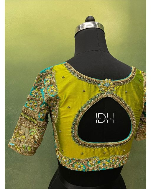 Subtle and classy !  Intricate Zardosi  beads and thread work detailing blouse. . . Bridal blouse customised  !  Ping  on 9884179863 to book an appointment...  2021-04-29