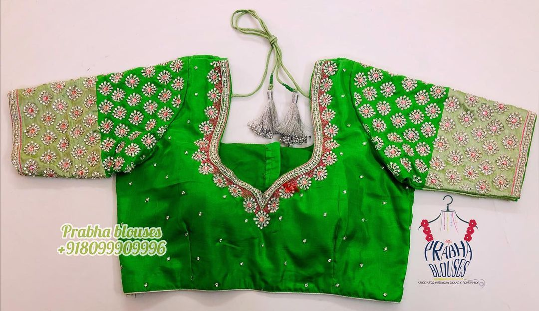 Parrot green color designer  blouse with floral buti design stone maggam work. 2021-04-29