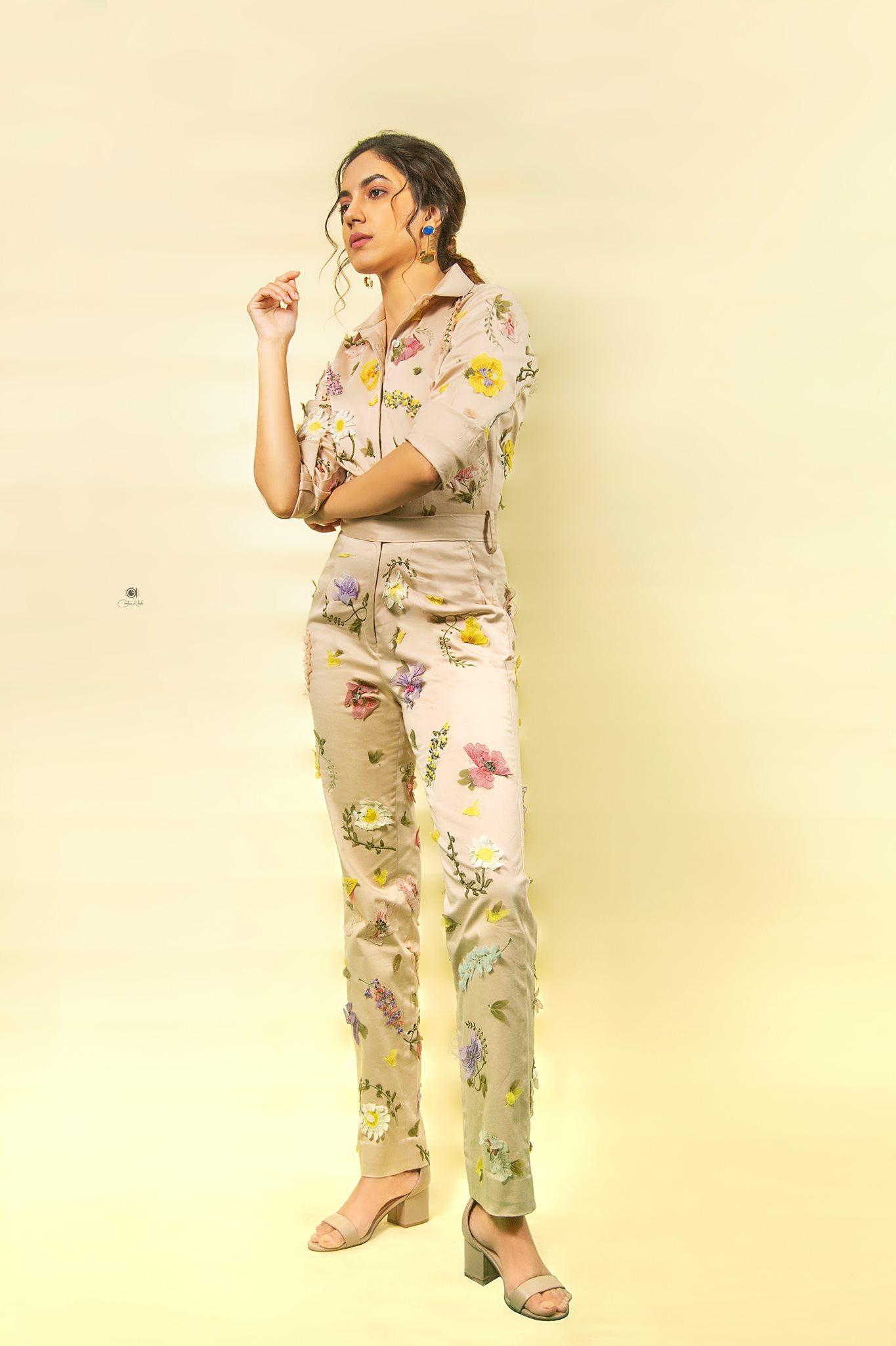 A feminine charm! Featured: Rritu varma looking gorgeous in pressed flower Khaki Boiler Suit. • Styled by Neeraja  kona. 2021-04-30