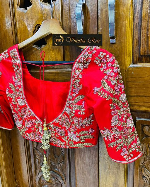 Red pure silk bridal blouse with thread and beads hand embroidery work from the house of Vinisha rao designer studio !! Suitable for all kind of occasions !!