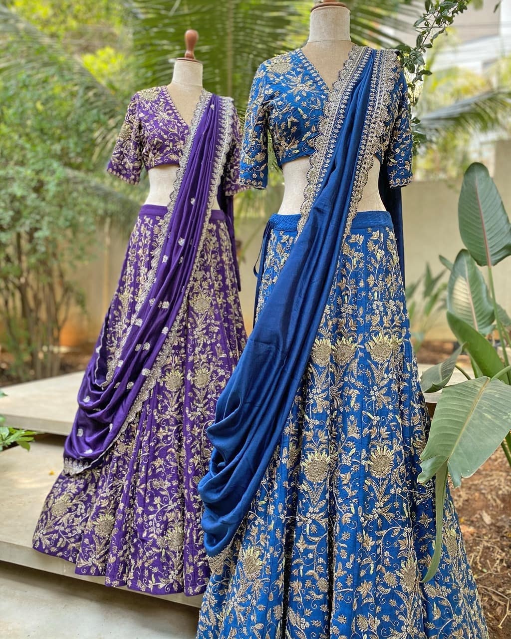 Gorgeous purple and sky blue colour bridal lehenga set with signature silver thread hand embroidery work.  2021-04-30