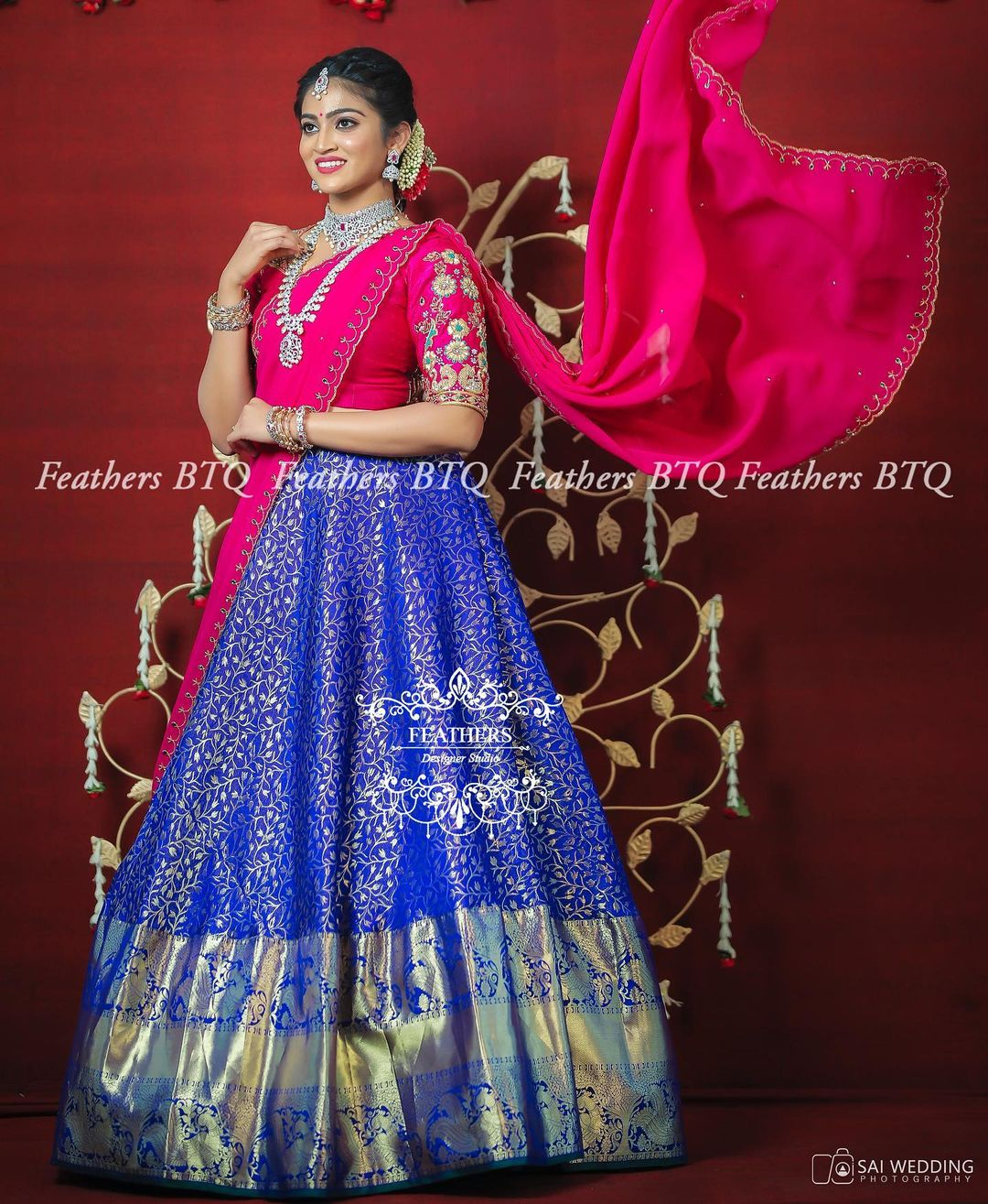 Stunning blue colour silver pattu lehenga and pink color blouse with dupatta. Blouse with floral maggam work. 2021-04-30
